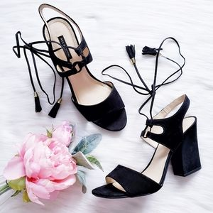 Ava & Aiden Black Suede Lace Up Chucky Heel